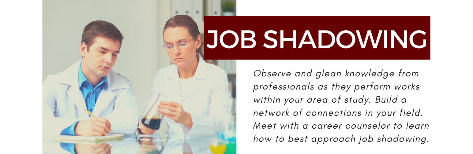 job shadowing. Observe and glean knowledge from professionals as they perform works within your area of study. Build a network of connections in your field. Meet with a career counselor to learn how to best approach job shadowing.